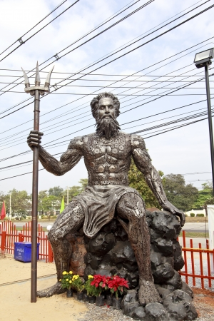 Poseidon with Trident made of iron .