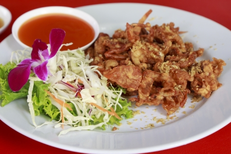 The Fried soft shell crab with garlic. Stock Photo