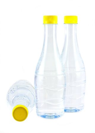 purified: Stock image of purified water bottle over white background. Stock Photo