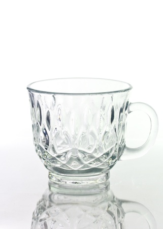 Empty glass cup isolated on white background.