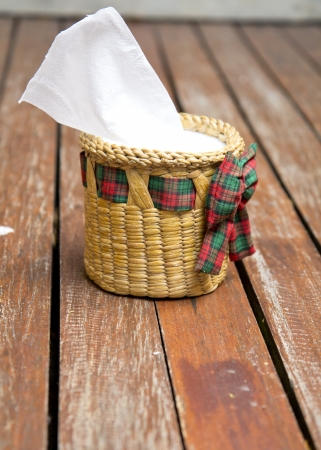 sniffles: Tissue paper box made by basketry bamboo. Stock Photo