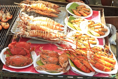 Grilled seafood variety on the tray photo