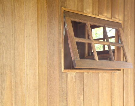 Wood frame windows of wooden houses