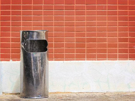trash and red wall background photo