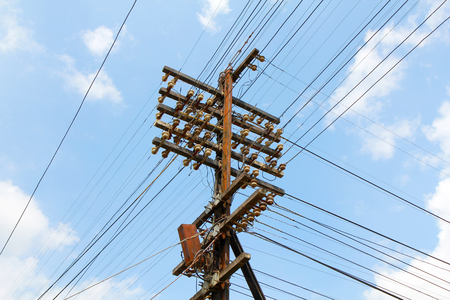 electric pole with wires. photo