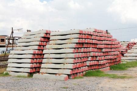 sleepers: Concrete railway sleepers piled.
