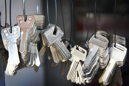 bunch of keys  on a neutral background.