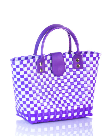 woven plastic baskets or bag on white background. photo