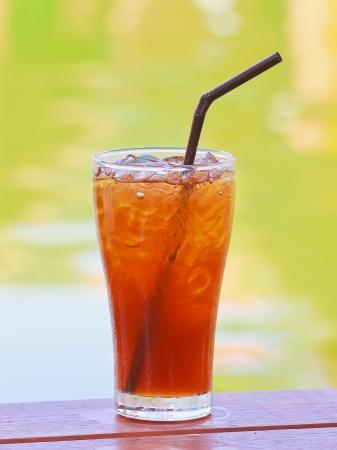 Ice lemon tea on wood table