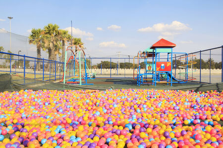 playcentre:  colorful balls in park playground. Stock Photo