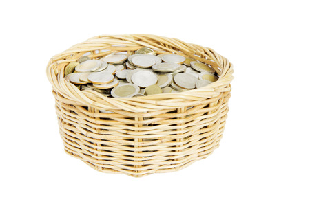 pot of coins isolated on white . photo