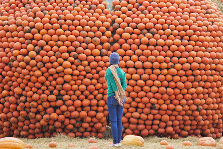 Woman looking a stack  pumpkins at outdoor market photo