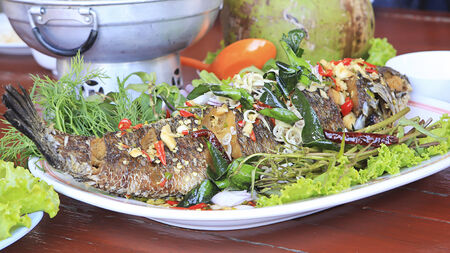 snakehead: Deep Fried Snakehead Fish with Herb.
