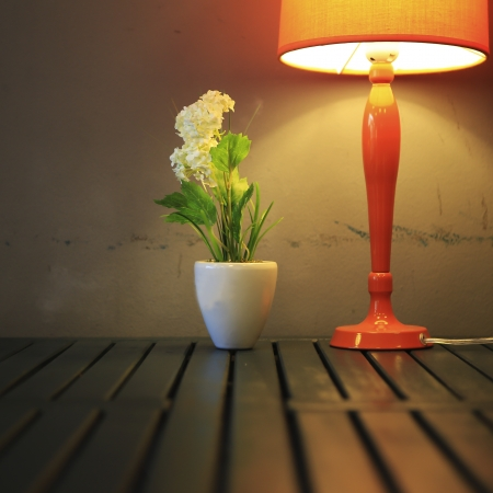 still life with lamp, the flower