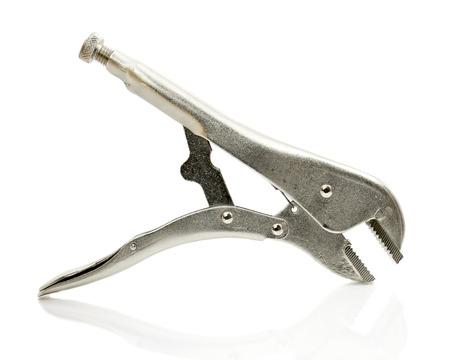 locking: locking pliers isolated on a white background. Stock Photo