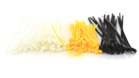 colored cable ties isolated against white background. photo
