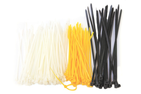 colored cable ties isolated against white background.