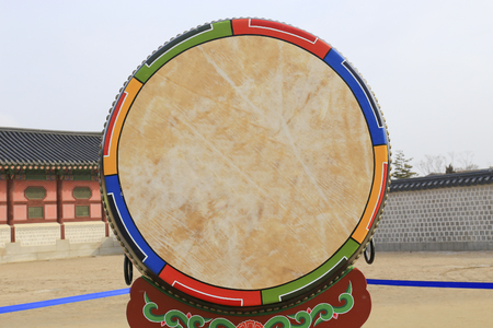 Asian wooden leather old temple drum. photo