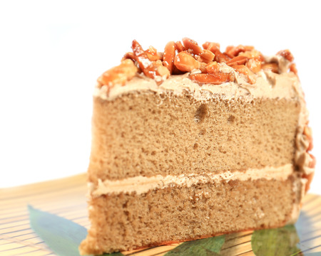 coffee almond cake on yellow  dish. photo