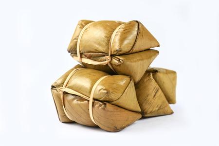 Isolated Thai rice cakes bundle on white background. Stock Photo