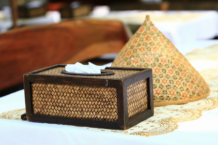 basketry: Tissue paper box made by basketry bamboo. Stock Photo