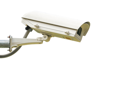 Security camera on white background. Stock Photo
