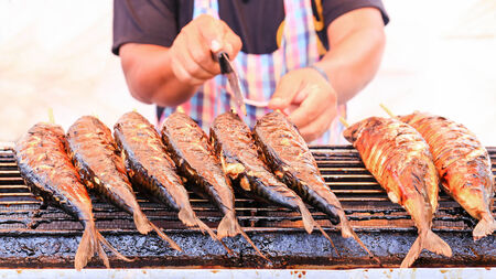 saba: Grilled fish on the grill ,(saba) Stock Photo