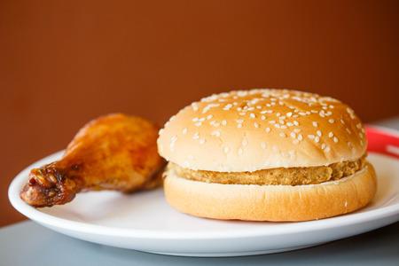 crisp chicken burger and fried chicken. photo