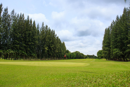 Landscape of a beautiful green golf course with sky. photo