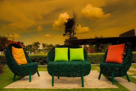 Backyard Patio in Garden with sunset. photo