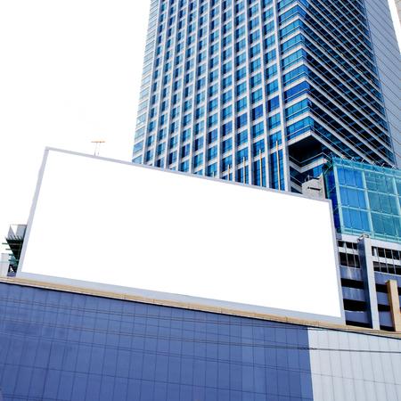 economic revival: Blank billboard of skyscraper for advertising.