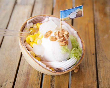 coconut Ice Cream with nuts. Stock Photo