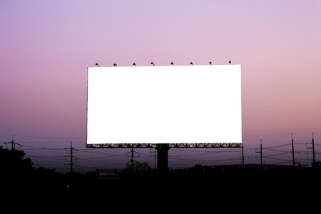 Blank billboard for advertisement at twilight. photo