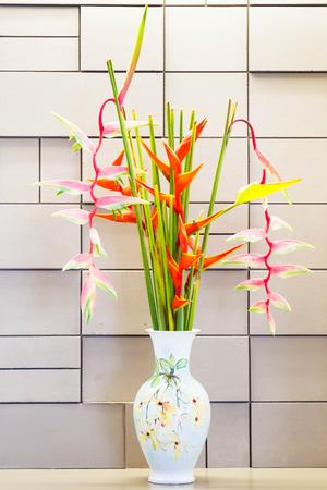 Bird of paradise flower in vase. photo