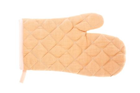 mitt: Brown oven mitt, cutout on white background.