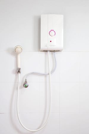 shower stall: Shower bath and water heater. Stock Photo