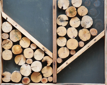 frame on wall: Cutting wood is arrange to be the frame wall.