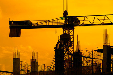 silhouette of construction worker.