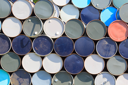 oil barrels or chemical drums stacked up. photo