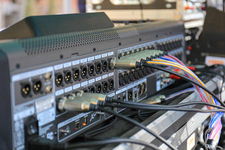 sound mixer: Connectors is connected to sound mixer Stock Photo
