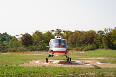 helipad: Helicopter parked at the helipad near forest