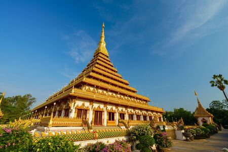 khon: golden pagoda at the Thai temple, Khon kaen Thailand
