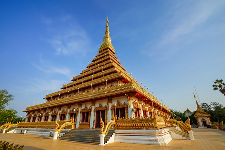 khon: golden pagoda at the Thai temple, Khon kaen Thailand