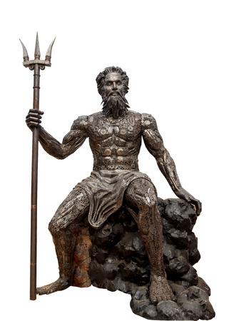 Poseidon con tridente di ferro isolato su sfondo bianco Archivio Fotografico