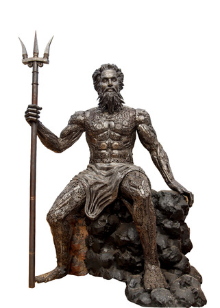 Poseidon with Trident made of iron isolated on white background