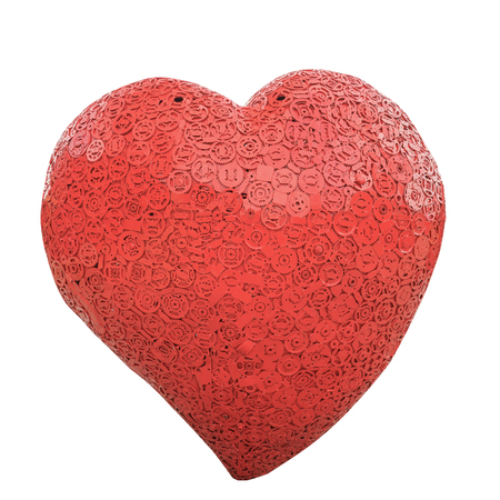 heavy heart: Image of red iron heart on white background.