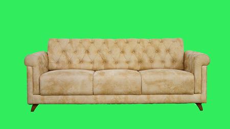 arm chair: Armchair-Fabric arm chair, classical stylish armchair on green background