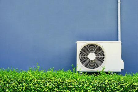 Air compressor installation on pedestal.outdoor