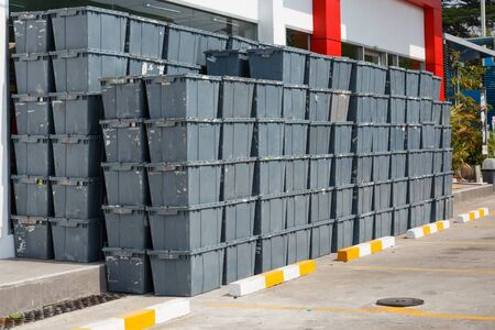 old container: Plastic crates stacked  packing containers