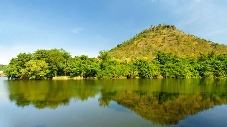 riverside landscape: Picturesque landscape of riverside of the river  with mountain.